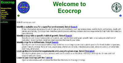 The Ecocrop home page